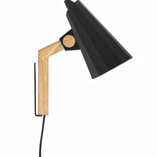 filly wall black solid oak lamp