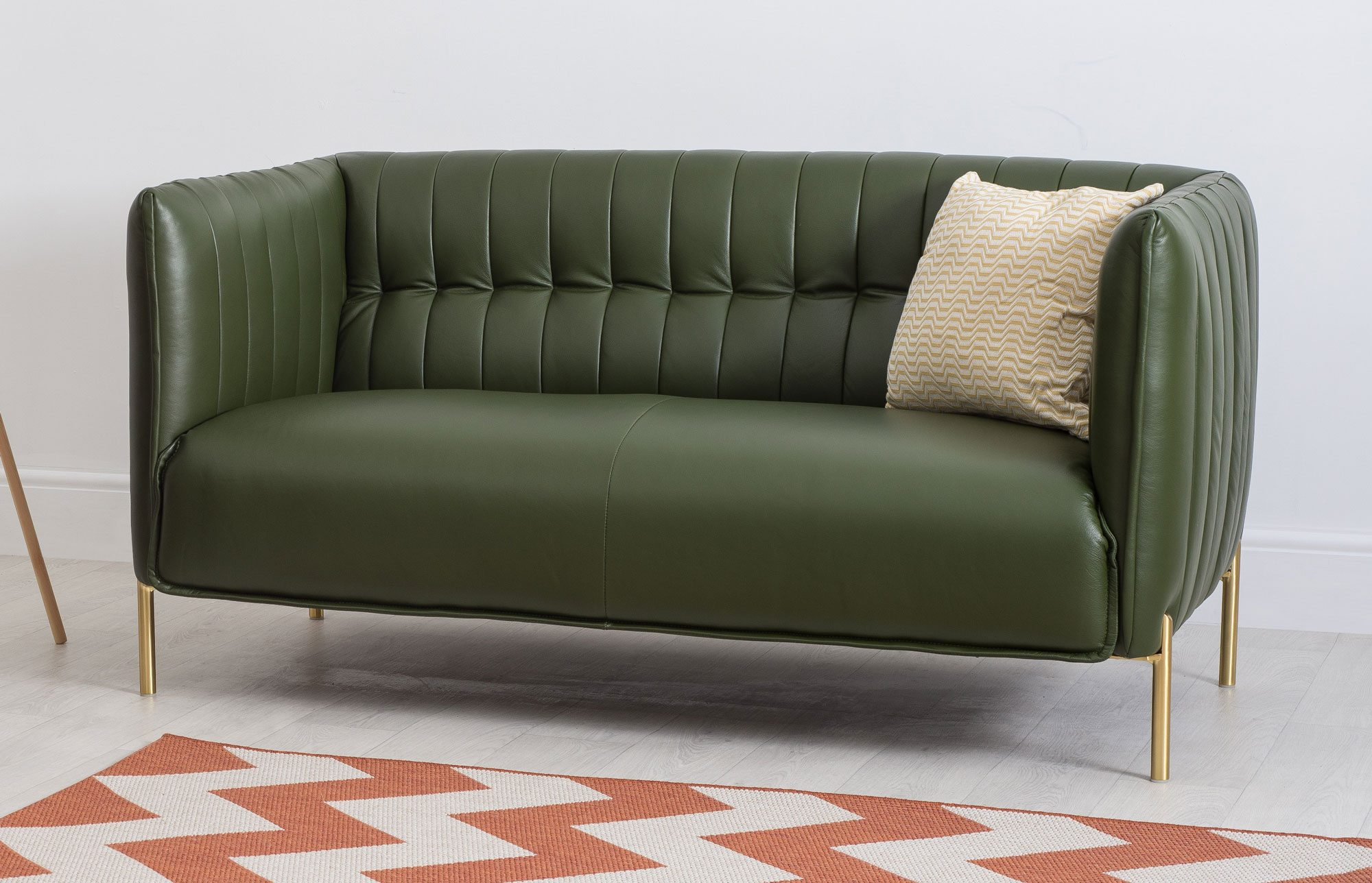 Two Seater Dark Green Leather Sofa