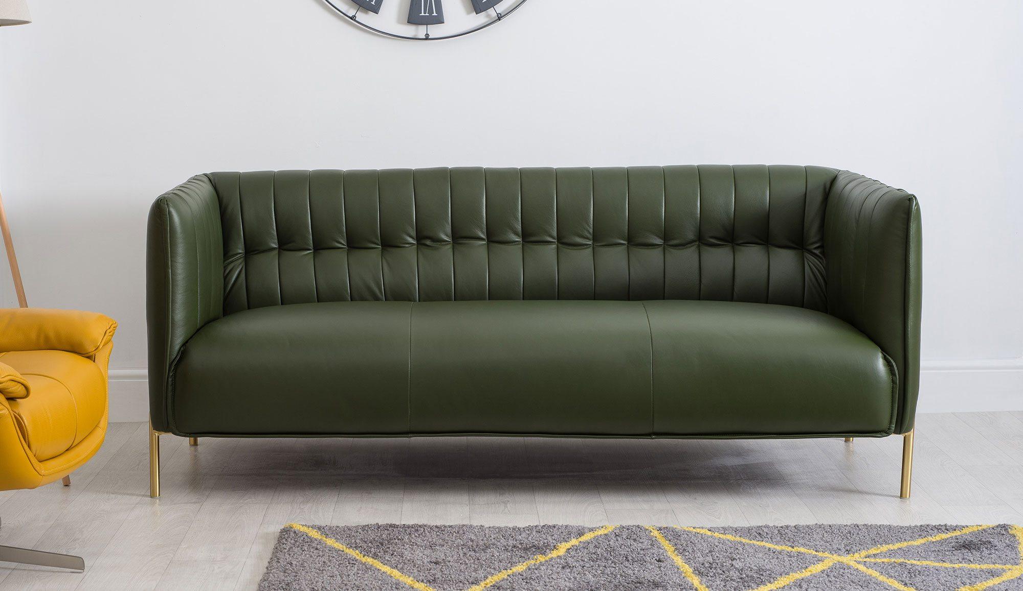 Annabelle Three Seater Green Sofa