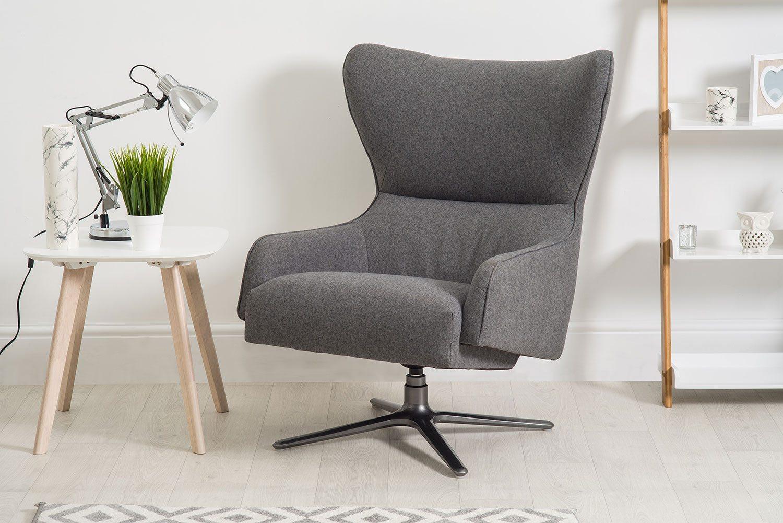 Lucas Dark Grey Swivel Fabric Armchair | Bella Casa London