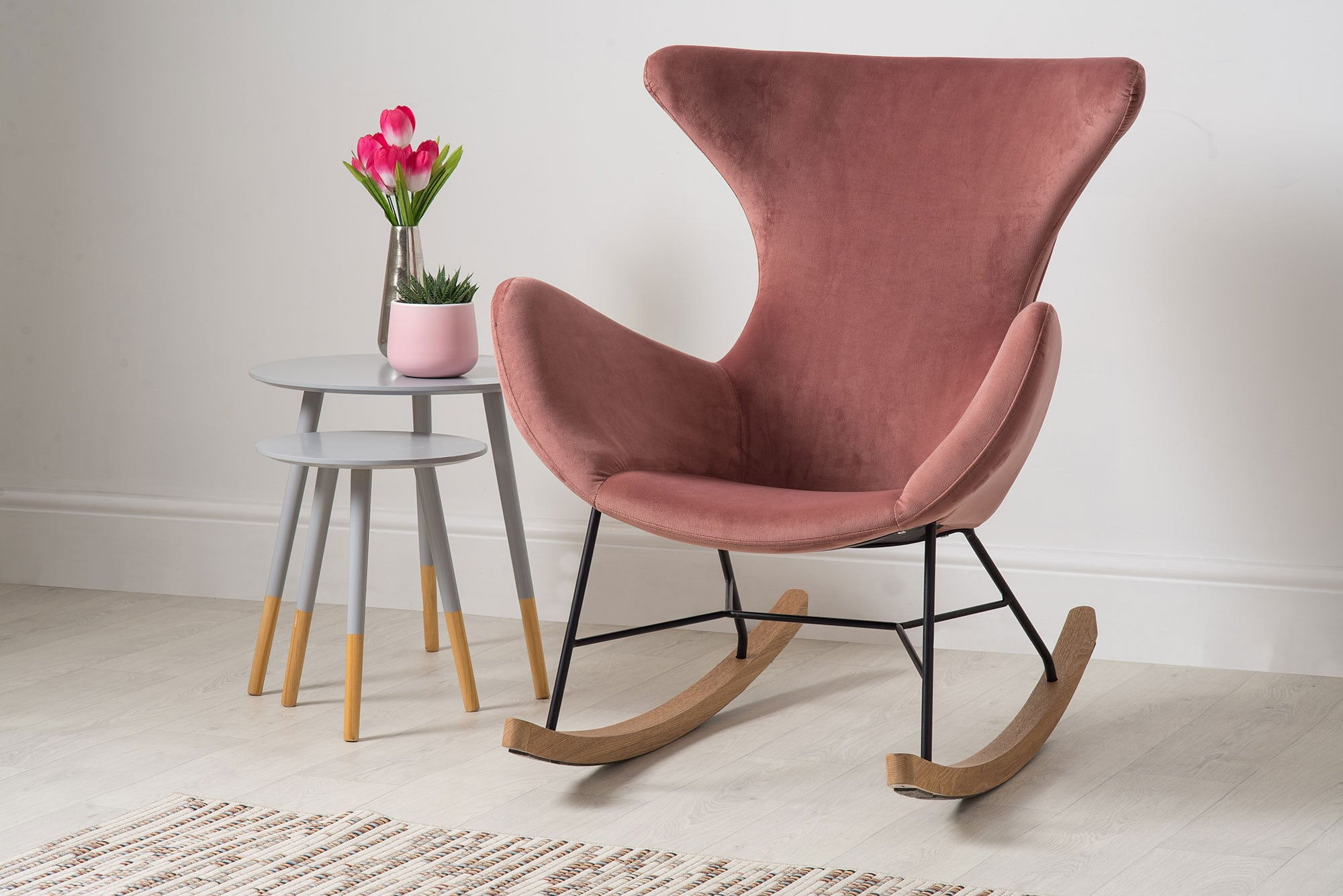 Frankie Rocking Chair Velvet Dusty Pink Bella Casa London