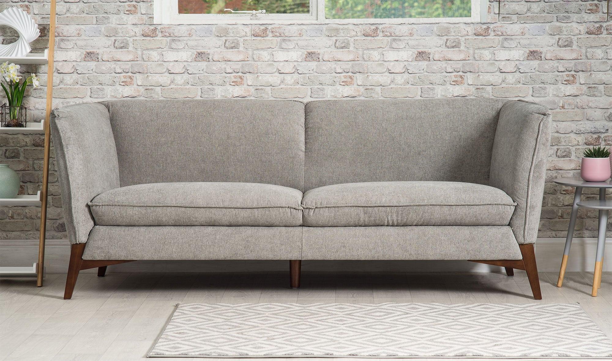 Oliver Three Seater Grey Modern Sofa Bella Casa London