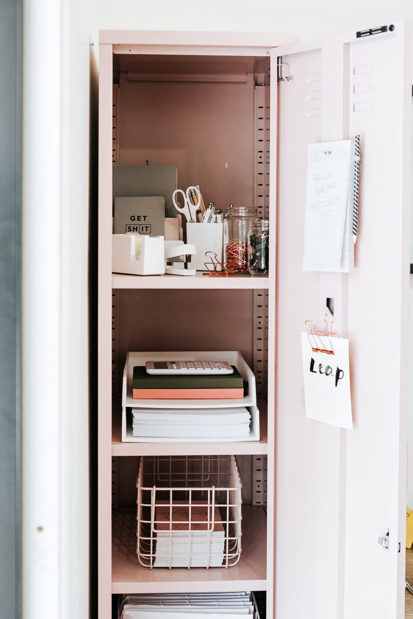 blush pink skinny locker storage solution mustard made