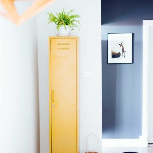 mustard vintage style skinny locker