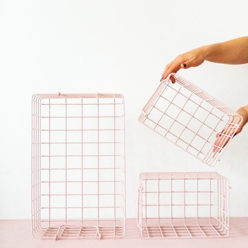 blush pink wire storage baskets