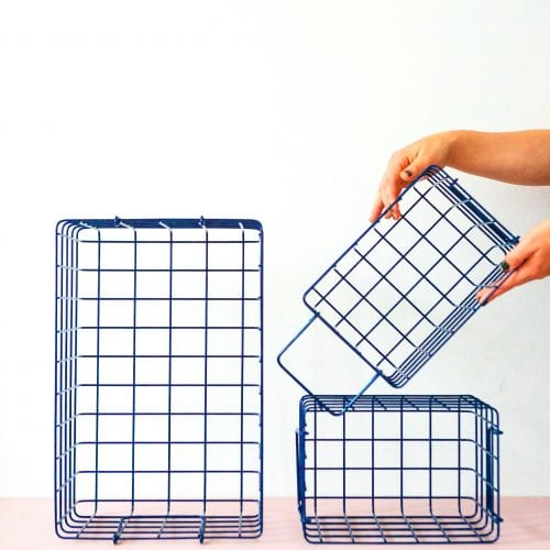 wire storage basket set in navy