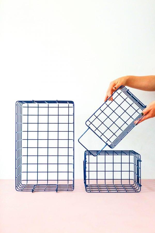 wire storage basket set in navy