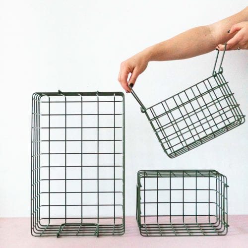 wire storage basket set in olive green