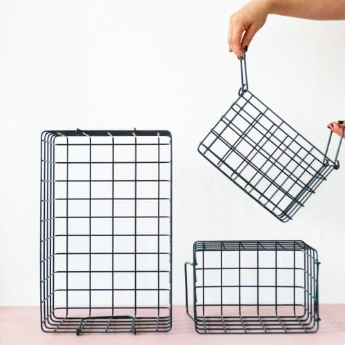 slate grey wire storage basket solutions