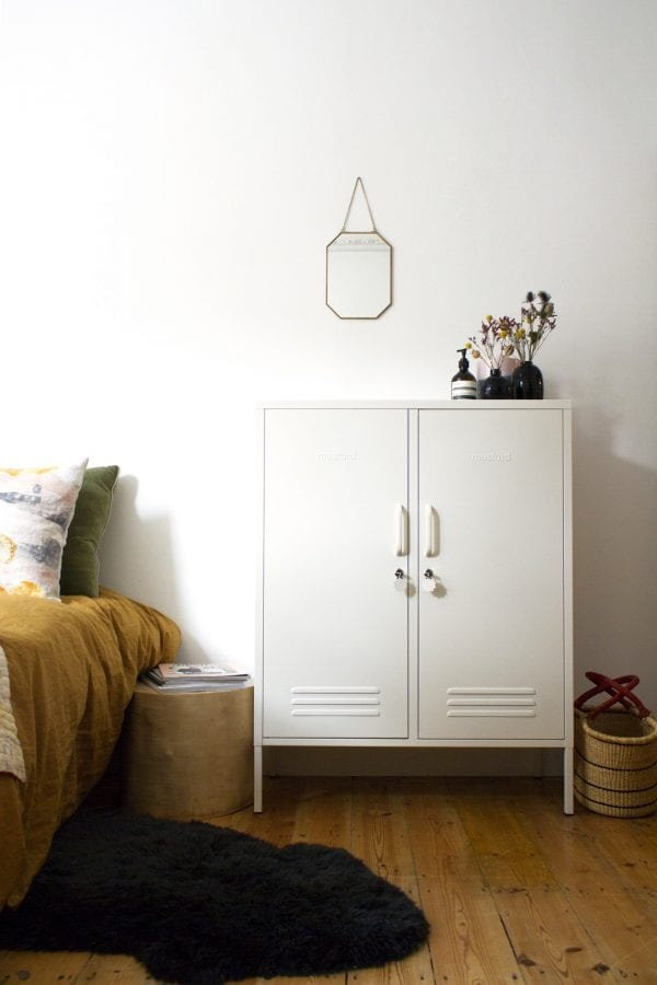 The Midi White Locker Styled Within The Bedroom For Storage