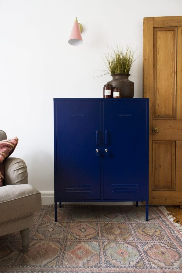 The Midi In Navy Blue Front View Styled Image