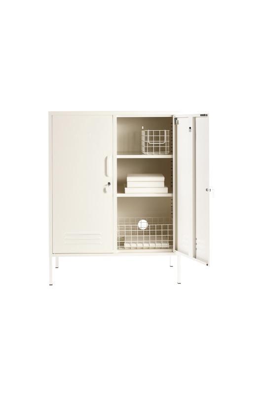 The Midi White Locker Styled With Wire Storage Baskets