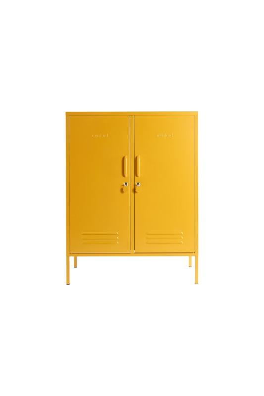 The Midi Locker In Mustard Styled Front View