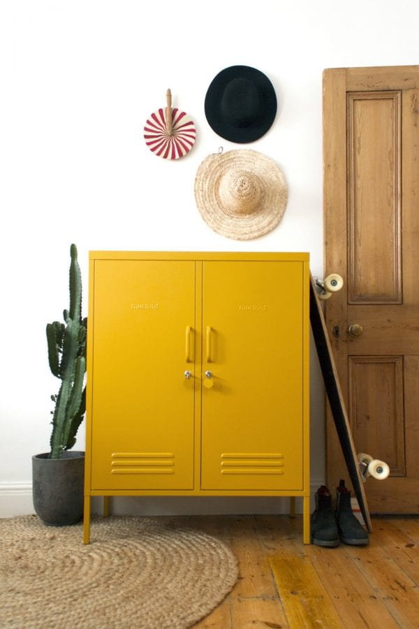 The Midi Locker In Mustard lifeStyle Image Front View