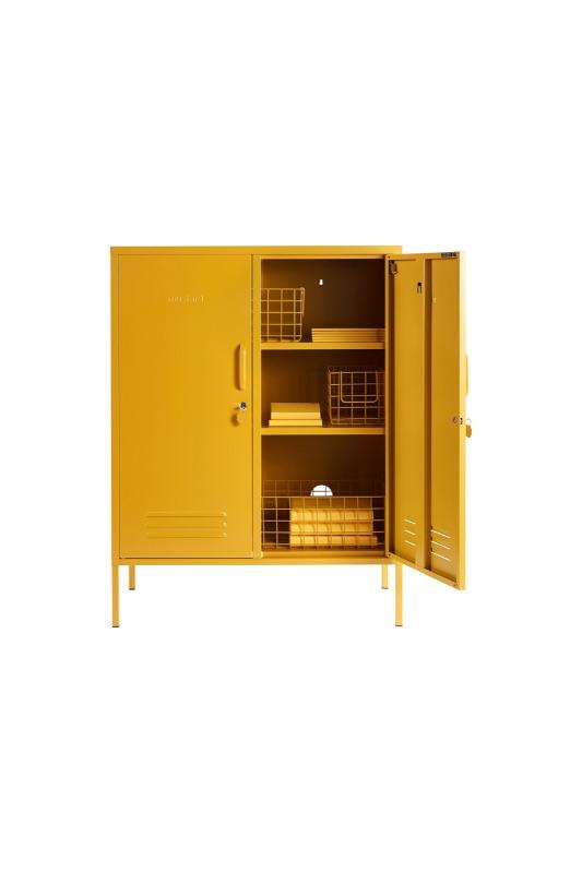 the midi in mustard styled with wire storage baskets
