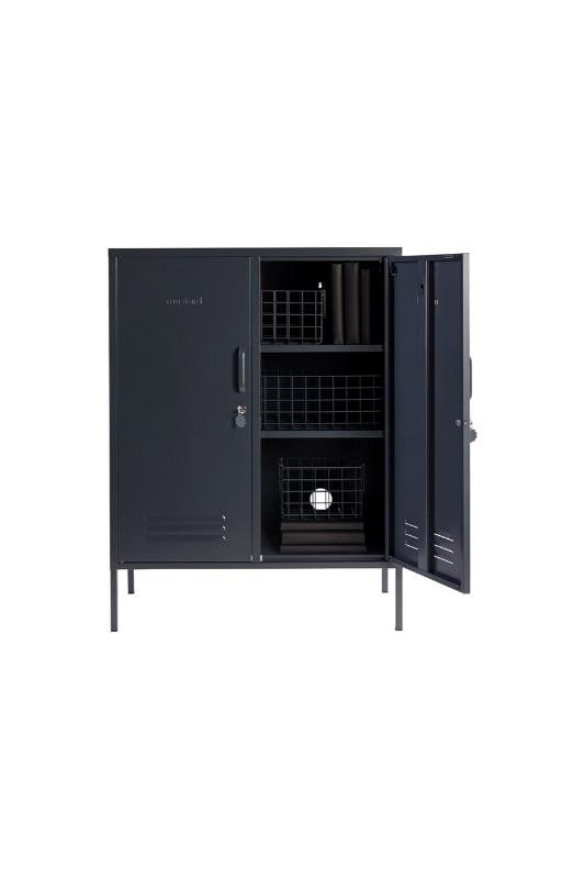 The Midi Locker In Slate Grey Styled With Wire Baskets