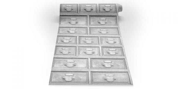 Almost White Industrial Antique Drawer Wallpaper