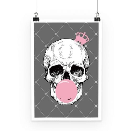 Bubblegum Skull Pinted Poster Grey