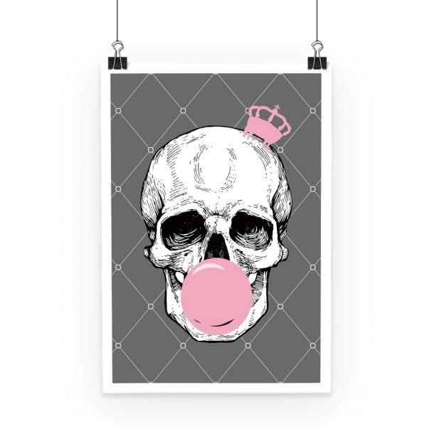 Bubblegum Skull Pinted Poster Grey