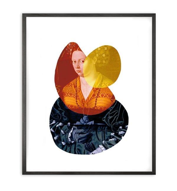 Lady 2 Shape And Colour Framed Art Print