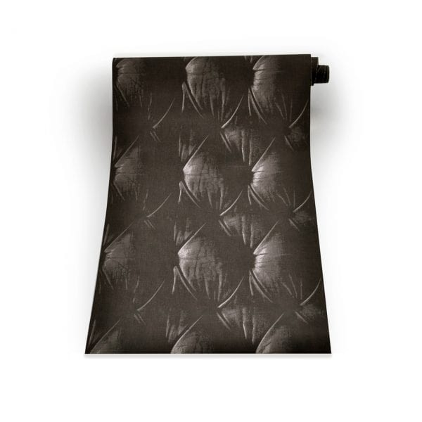 Black Chesterfield Button Back Wallpaper Design