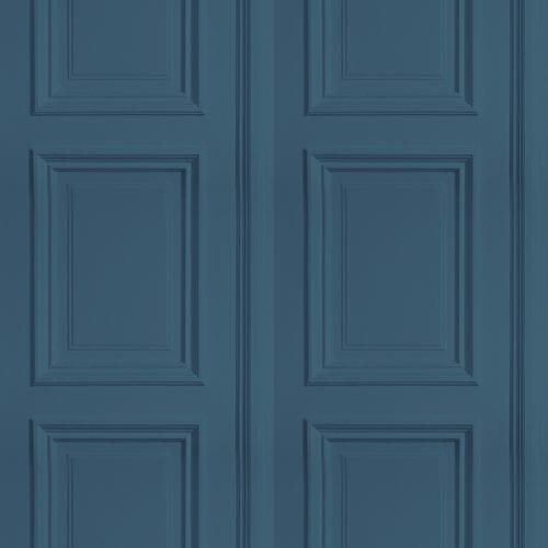 Blue faux wood panel wallpaper