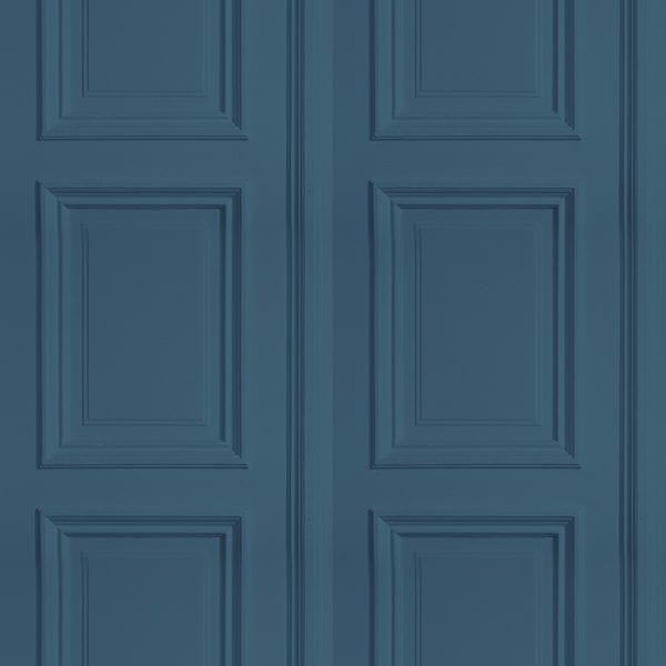 Blue faux wood panel wallpaper