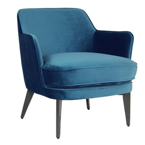 Brixton Blue Velvet Accent Chair