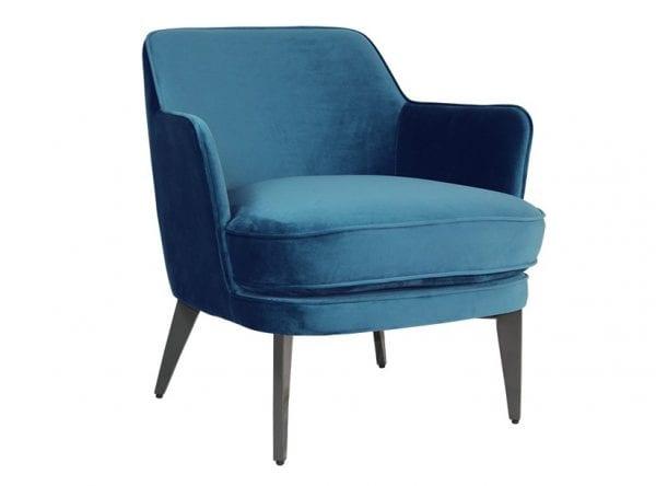 Brixton Blue Velvet Accent Chair