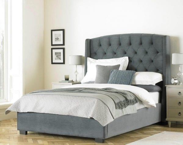 Camden Grey Buttoned Headboard & Bed Frame