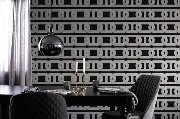 Chain Print Black Marble Wallpaper
