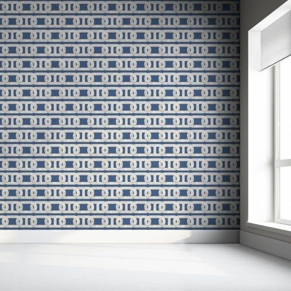 Chain Print Blue Marble Wallpaper