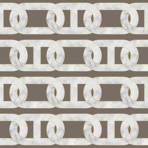 Chain Print Grey Marble Wallpaper