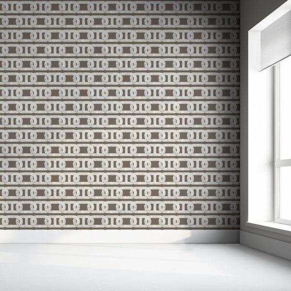 Chain Print Grey Marble Wallpaper