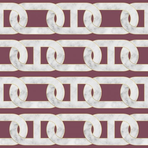 Chain Print Red Marble Wallpaper