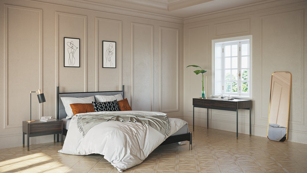 Chelsea Ebony Bed With Grey Upholstered Headboard