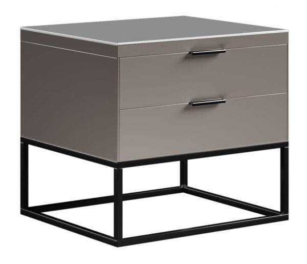 Cresswell Grey 2 Drawer Bedside Cabinet / Side Table