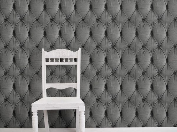 Grey Chesterfield Button Back Design Wallpaper