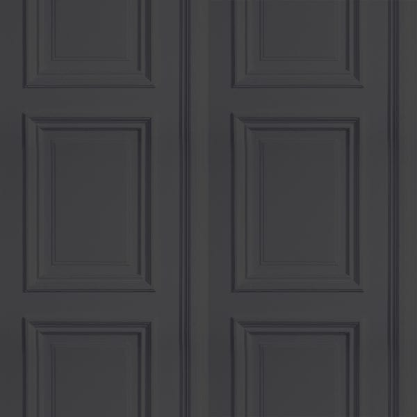 Anthracite grey faux panel wallpaper