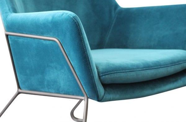 Shoreditch Teal Velvet Steel Frame Accent Chair