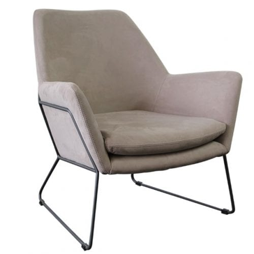 Shoreditch Grey Velvet Steel Frame Accent Chair